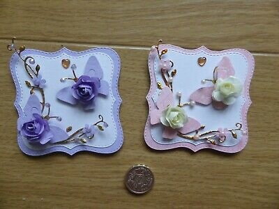 4 Ladies Pretty Floral Handmade Card Toppers, Birthday Thanking, Thinking Of You • 4£