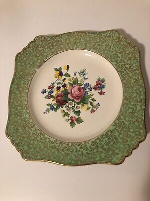 """$ CDN32 • Buy 1930's  ROYAL WINTON GRIMWADES ENGLAND Square 8.75"""" Plate Green & Center Flowers"""