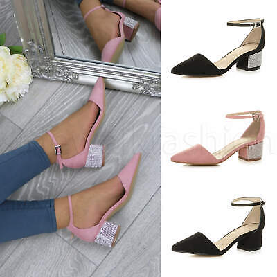 Womens Ladies Low Mid Heel Ankle Strap Diamante Pointed Shoes Two Piece Sandals • 9.99£