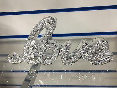 £19.95 • Buy Crushed Crystal Diamond Silver FAMILY HOME & LOVE Sign Ornament Shelf Sitter NEW