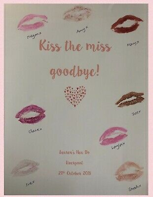 Kiss The Miss Goodbye Personalised Hen Do Party Keepsake Poster Print  A4 • 2.50£