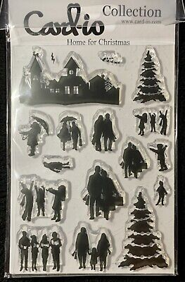 Card-io Clear Stamp Set HOME FOR CHRISTMAS Silhouette Carol Singers A6 Trees • 3.10£
