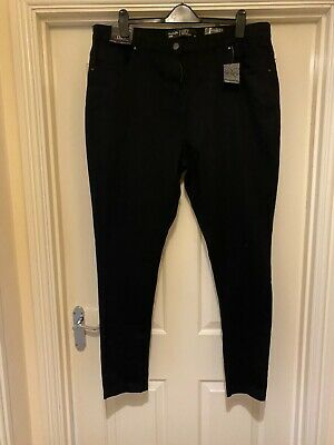 Simply Be Lucy Skinny Fit Black Jeans Size 24 LONG • 9.99£