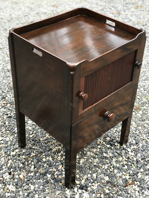 $675 • Buy Antique English Georgian Mahogany Tambour Front Bedside Stand Or Lamp Table 1820