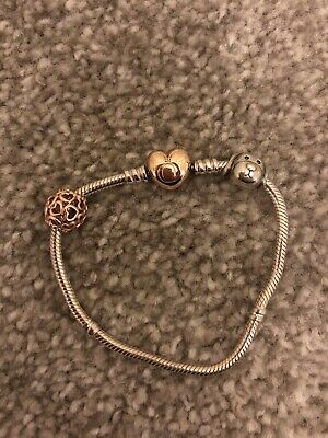 Genuine Pandora Moments Rose Gold Heart Clasp Bracelet With Charms • 20£