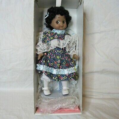 $ CDN32.87 • Buy Adorable African American Little Girl Porcelain Doll Floral Dress On Stand 13