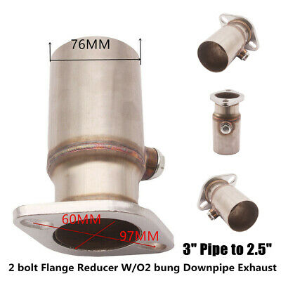 $43.45 • Buy 3  Pipes To 2.5  2 Bolt Flange Reducer With O2 Bung Downpipe Car Exhaust  Steel