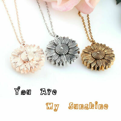 You Are My Sunshine  Open Locket Sunflower Pendant Necklace Women's Gifts UK • 3.49£