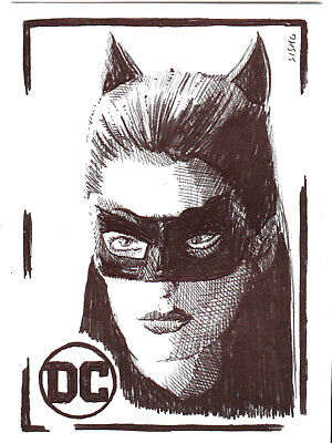 $ CDN14.03 • Buy ACEO Art Sketch Card DC Anne Hathaway As Catwoman From Movie Ink Drawing A