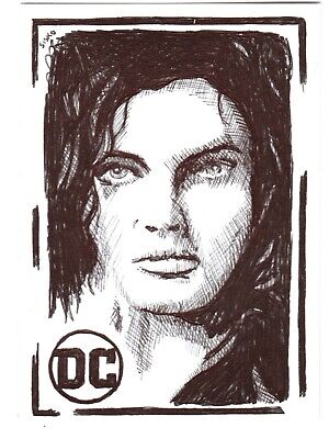 $ CDN14.03 • Buy ACEO Art Sketch Card DC Camren Bicondova As Catwoman From Gotham Ink Drawing A