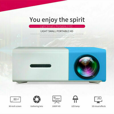 AU67.49 • Buy Portable Mini YG300 LED Projector 3D Home Theater Cinema HD 1080P USB HDMI Blue