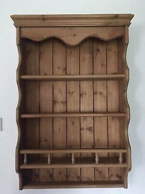 Antique Pine Shabby Chic Wooden Wall Shelf Plate Rack • 35£