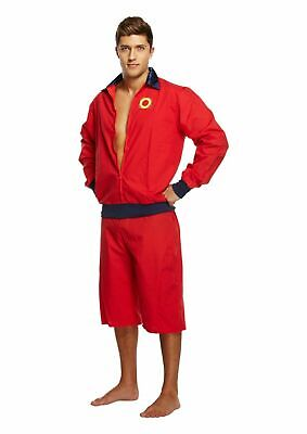 AU19.59 • Buy 90s Red Lifeguard Jacket & Shorts Mens Fancy Dress1990.film