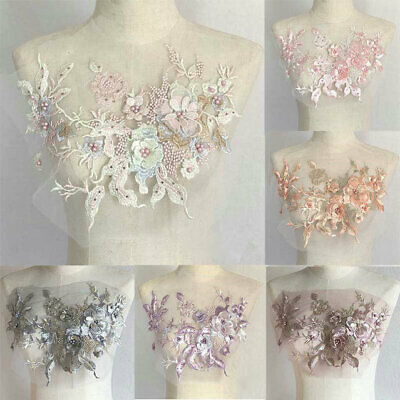 3D Flower Lace Embroidery Wedding Dress DIY Beaded Pearl Tulle Bridal Applique • 2.91£