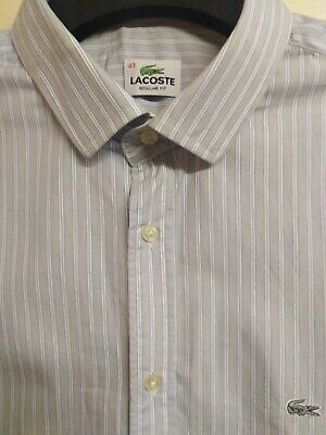 Mens Lacoste Reg Fit Silver Croc Striped Shirt Size 43.. 46  Chest Fits XL • 14.99£