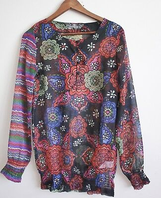 Desigual Boho Top, Long Sleeve, S, Floral / Paisley Print, Lightweight, New NWOT • 20£
