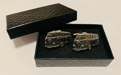 £17.84 • Buy Classic Camper Van Silver Pewter Cufflinks Gift Box Weddings Birthday Christmas