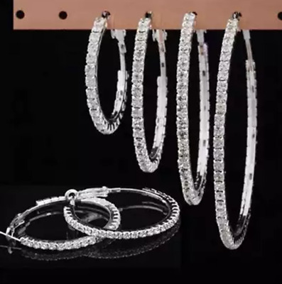 Silver Plated Hoops, Diamante / Diamonte, Big Round Earrings, Sparkle Bling UK • 3.39£