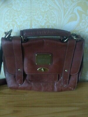 Jack Wills Tan Leather Satchel Bag With Shoulder Strap Autumn Must  • 10£