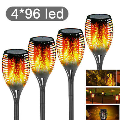4Pack 96LED True Flame Solar Torch Light Warm White LED Flickering Garden Lamp • 21.99£