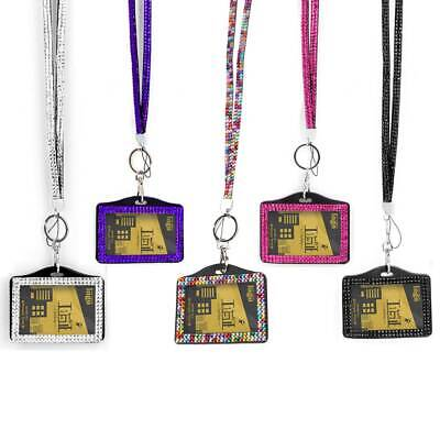 New Durable Rhinestone Crystal Lanyard And Id Badge Holder For Photo Id Cards UK • 2.63£