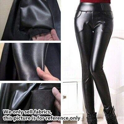 £23.69 • Buy Faux Leather Fabric Thick Fleece Lined PU Stretch For Coat Leggings Shiny Sewing