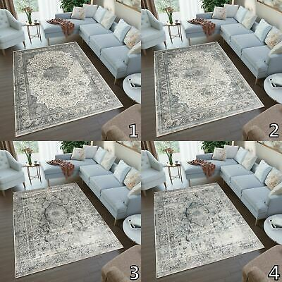 Traditional Faded Vintage 3D Rug Grey Cream Floral Living Room Ornaments Carpet • 213.29£