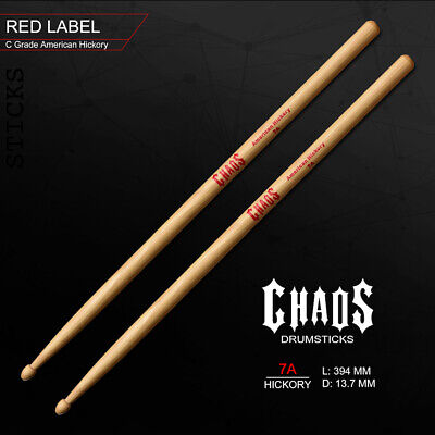 AU24 • Buy CHAOS 7A DRUMSTICKS – RED LABEL X3 PAIRS DRUM STICKS