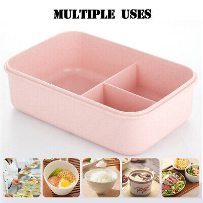 Kids Adults 3 Compartments Lunch Box Food Container Set Bento Storage Boxes UK • 6.69£