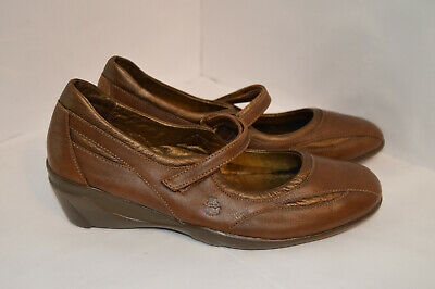 24HRS Womens Brown Leather Wedge Pumps Size UK 4.5 EU 38 • 12.99£