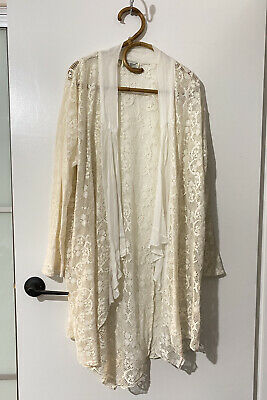 AU45 • Buy Tree Of Life Peace Angel Cream Lace Duster Kimono Free Size S M L XL