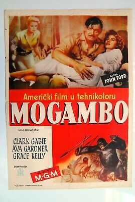 Mogambo Clark Gable Ava Gardner Grace Kelly 1953 Rare Exyugo Movie Poster  • 217.07£