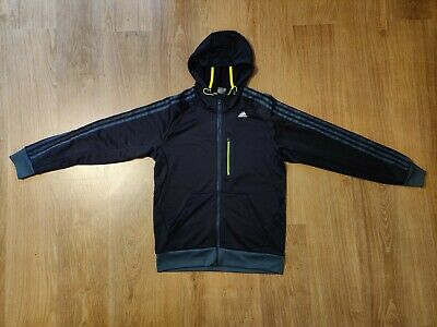 Mens Adidas Black Climalite Hooded Track Top UK Size M • 16.50£