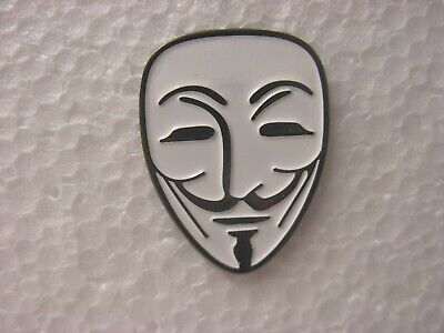 Guy Fawkes Pin Badge. Unknown Person Mask Design. Metal Enamel. Punk New Wave • 1.50£