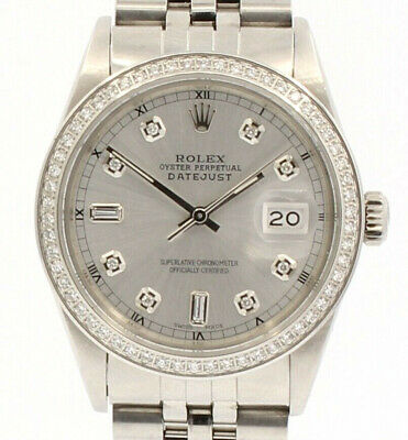 $ CDN8249.16 • Buy Mens Vintage ROLEX Oyster Perpetual Datejust 36mm SILVER Dial Diamond Watch
