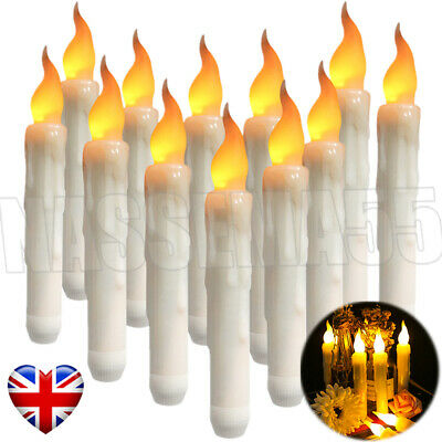 6/12PCS Battery Operated Candles Flameless Party Taper Electronic Light Plastic • 9.19£