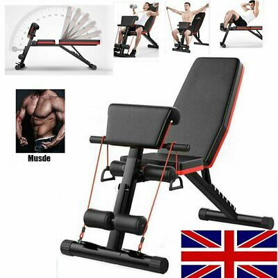 Exercise Bench Adjustable Weight Bench Fitness Home Training Gym Utility Press O • 64.99£
