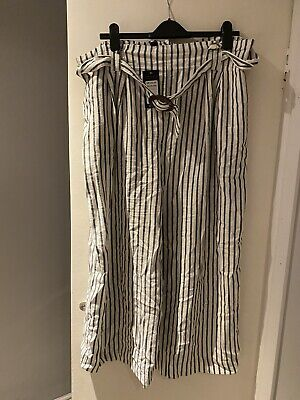 New Look Cropped Wide Leg Striped Linen Trousers Size 18 Brand New & Tagged • 15£