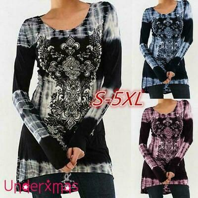 Plus Size Womens Long Sleeve Print T Shirt Ladies Casual Loose Tunic Tops Blouse • 2.39£