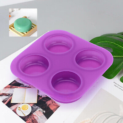 4 Cell Round Pebble Stone Silicone Bath Soap Mold Mould Tray DIY Craft Tool New • 5.99£