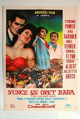 Sun Also Rises Errol Flynn Ava Gardner 1957 Tyrone Power Rare Exyu Movie Poster  • 217.07£
