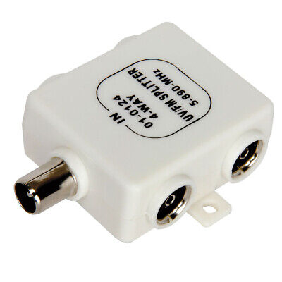 RF Splitter Freeview TV 4 Way UV FM VHF Aerial 1 Input To 4 Output TVsCoaxial • 3.27£