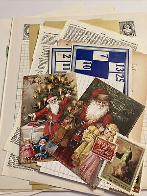 Scrapbook Accessories, Vintage Christmas Junk Journal Kit, Card Clearout • 0.99£