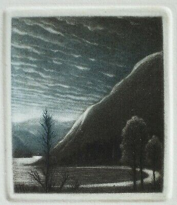 Mezzotint Etching Peter Ford, RE 'Evening Light' Coniston Water Signed Framed • 90£