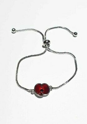 Poppy Day Bracelet Adjustable Gift Silver Plated Red UK Kids Adults • 9.99£