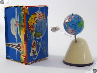 Gnk Horikawa Nomura Globe Rocket Laika West Germany Tin Robot Vintage Space Toy • 26£