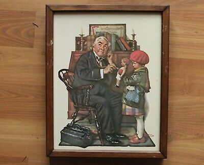 $ CDN30 • Buy Vintage Framed  Doctor And Doll  Norman Rockwell Print