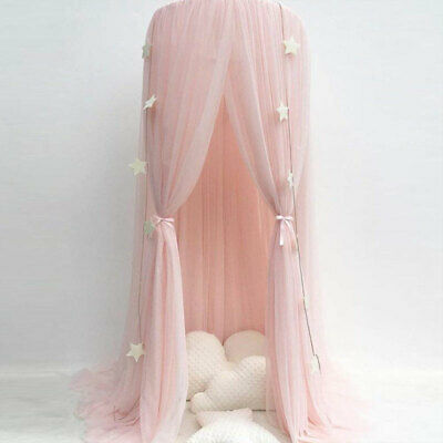 Bed Canopy  Round Dome Pink Mosquito Net Princess Bedroom Decor For Baby Kids J • 21.74£
