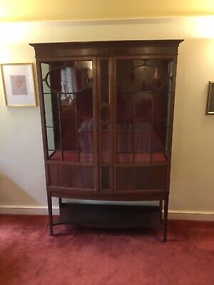 Antique Edwardian Mahogany China Cabinet, Bowed Front, COLLECTION IN PERSON • 149£