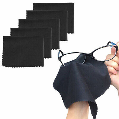 10Pcs Black Cleaning Wipe Cloth Lens Screen Microfiber Glasses Cleaning New • 3.14£